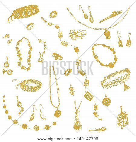 Hand drawn doodle jewelry, bijou. Yellow, gold objects, white background. Design illusrtration for poster, flyer EPS 10