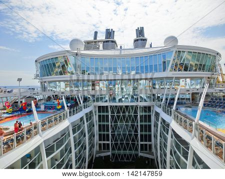 Barselona Spaine - September 06 2015: The cruise ship Allure of the Seas The Royal Caribbean International. The view of the upper deck of ship