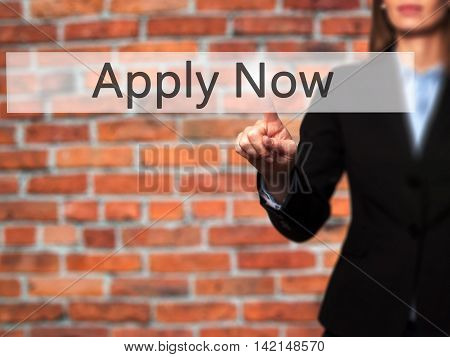 Apply Now - Isolated Female Hand Touching Or Pointing To Button