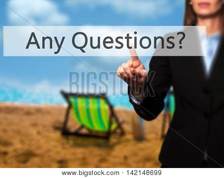 Any Questions - Isolated Female Hand Touching Or Pointing To Button