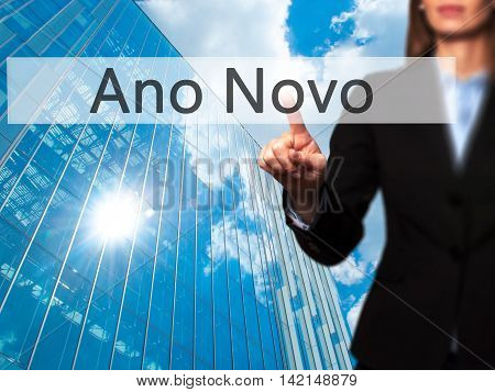 Ano Novo (new Year) - Isolated Female Hand Touching Or Pointing To Button