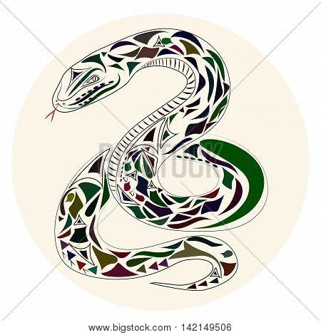 Vector flat Illustration of snake on white background.