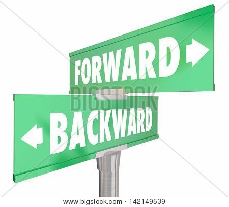 Forward Vs Backward Two Way 2 Road Signs 3d Illustration