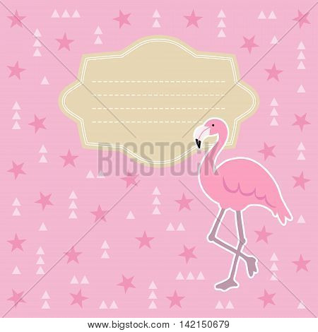 Birthday baby shower greeting card invitation. Flamingo bird abtract geometric background with triangles and stars. Stock vector illustration flat design.