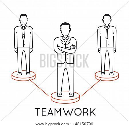 Linear Concept of Teamwork Leadership Human Resources Management and Relationship