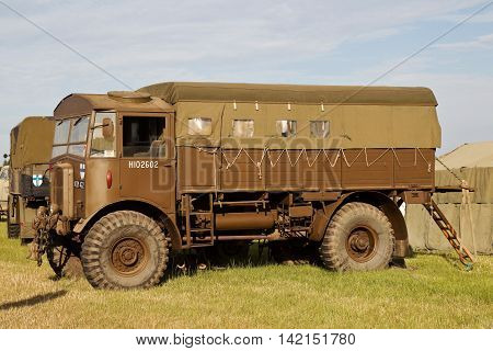 WESTERNHANGER, UK - JULY 21: An ex British army WW2 vintage Matador gun truck stands on public display at the War & Peace Revival show on July 21, 2016 in Westernhanger