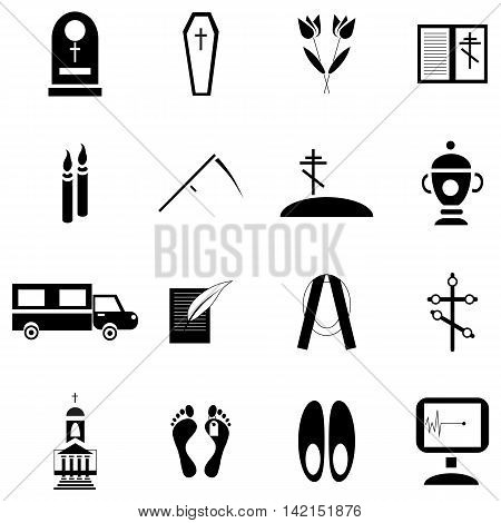 Simple death and funeral icons set. Universal death and funeral icons to use for web and mobile UI, set of basic death and funeral elements isolated vector illustration