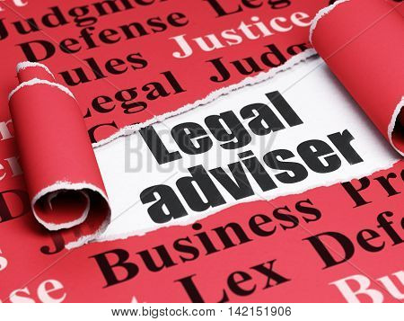 Law concept: black text Legal Adviser under the curled piece of Red torn paper with  Tag Cloud, 3D rendering