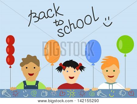 Children s background with balls and peek three children, with the inscription Back to school