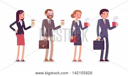 Office workers with coffee. Men and women in a formal wear. The set of characters isolated against the white background. Cartoon vector flat-style business concept illustration