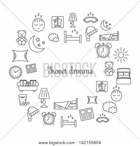 Sweet dreams card with set of isolated sleeping thin lined outlined icons. Vector signs for design of apps interfaces web sites banners presentations etc.