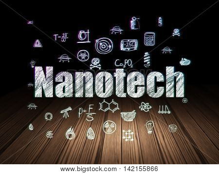 Science concept: Glowing text Nanotech,  Hand Drawn Science Icons in grunge dark room with Wooden Floor, black background