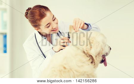medicine, pet, animals, health care and people concept - happy veterinarian doctor with otoscope checking up golden retriever dog ear at vet clinic