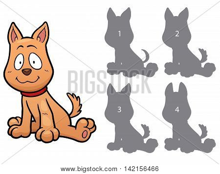 Vector Illustration of make the right choice and connect shadow matching - dog