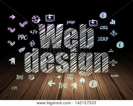 Web development concept: Glowing text Web Design,  Hand Drawn Site Development Icons in grunge dark room with Wooden Floor, black background