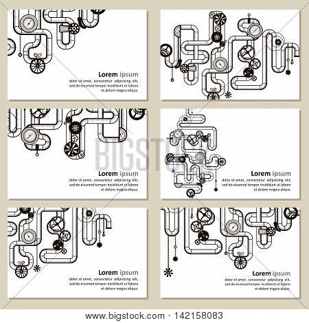 Decorative composition in style the steam punk - pipes. Vector illustration.