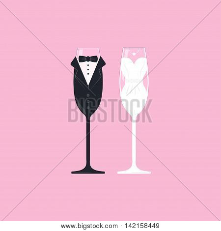 Bridal couple wine glasses. Wedding bride and groom champagne stemware vector. Vector image of wine glasses dressed in wedding characters