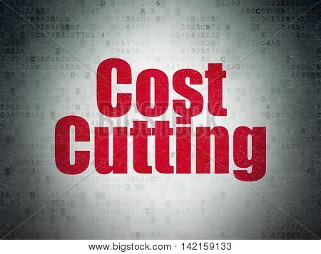 Business concept: Painted red word Cost Cutting on Digital Data Paper background