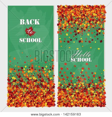 Back to school vertical banners with falling maple leaves. Education Concept.