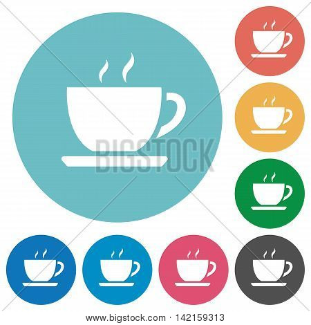 Flat coffee icon set on round color background.