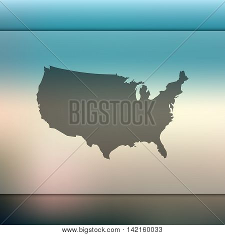 USA map on blurred background. Blurred background with silhouette of USA. USA silhouette. USA vector map. USA flag. Blur background. Vector map. Travel. United states. USA