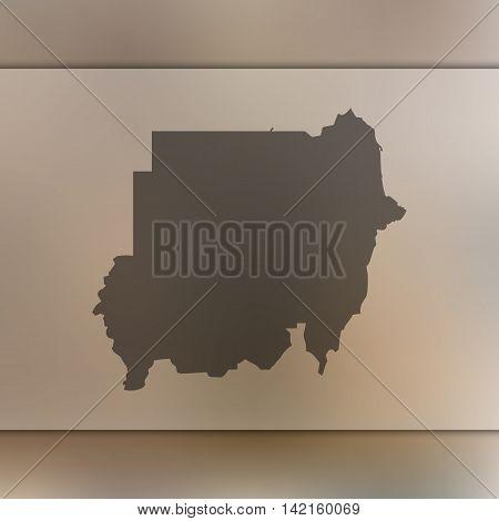 Sudan map on blurred background. Blurred background with silhouette of Sudan. Sudan. Blurred background. Sudan silhouette. Sudan vector map. Sudan flag.