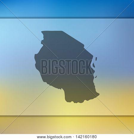 Tanzania map on blurred background. Blurred background with silhouette of Tanzania. Tanzania. Blurred background. Tanzania silhouette. Tanzania vector map. Tanzania flag.