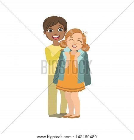 Boy Putting His Coat Around Girl s Shoulders Bright Color Cartoon Simple Style Flat Vector Sticker Isolated On White Background