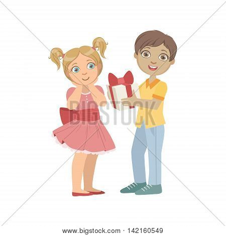 Boy Giving A Present To A Girl With Ponytails Bright Color Cartoon Simple Style Flat Vector Sticker Isolated On White Background