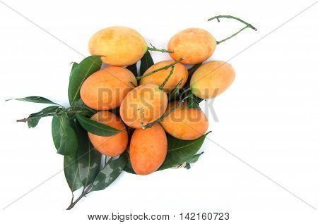 Closeup sweet Marian plum thai fruit isolated on white background (Mayongchid Maprang Marian Plum and Plum MangoThailand)