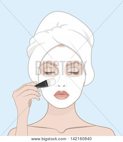 Woman applies face mask. Woman with a towel on her head vector illustration.