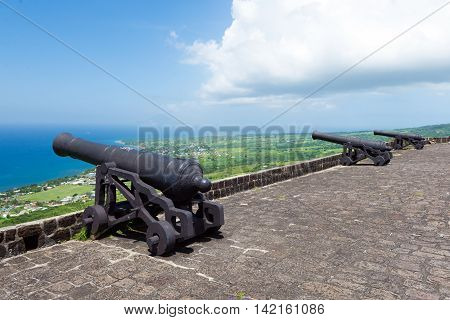 cannons at Brimstone hill fortress island St. Kitts and Nevis