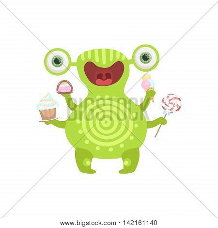 Green Tattooed Friendly Monster With Sweets Cute Childish Sticker. Flat Cartoon Colorful Alien Character With Party Attributes Isolated On White Background.