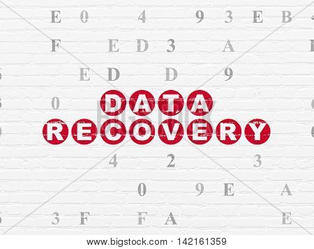 Data concept: Painted red text Data Recovery on White Brick wall background with Hexadecimal Code