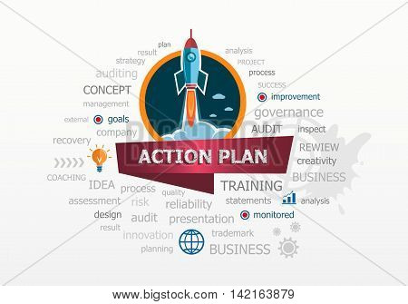The Word Cloud Action Plan Concept On Background With Rocket.