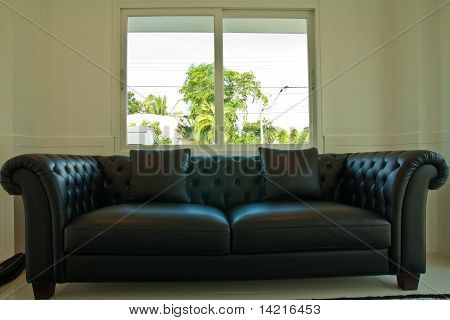 Black Leather Couch In Front Of Windows