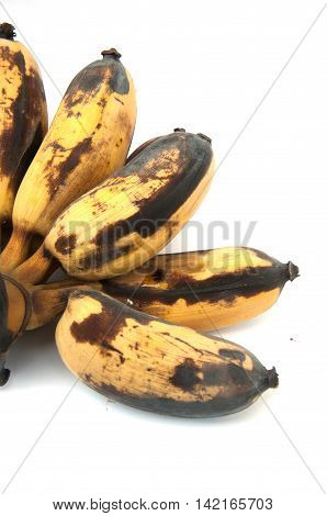 Yellow Bruised Banana isolated on white background