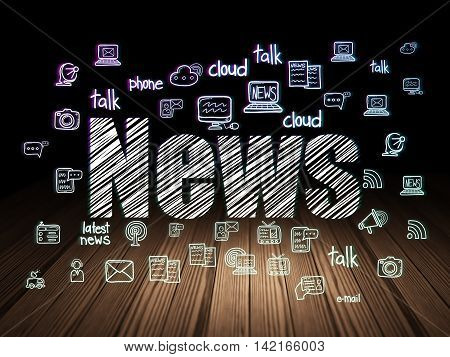 News concept: Glowing text News,  Hand Drawn News Icons in grunge dark room with Wooden Floor, black background