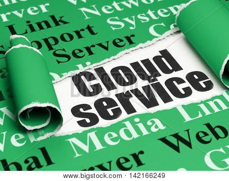 Cloud computing concept: black text Cloud Service under the curled piece of Green torn paper with  Tag Cloud, 3D rendering