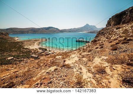 Crete, Greece: aerial view of Gramvousa island and Balos Lagoon