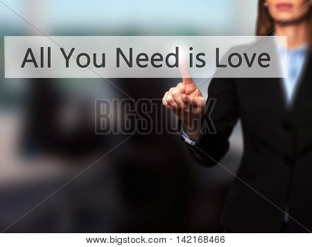 All You Need Is Love - Isolated Female Hand Touching Or Pointing To Button