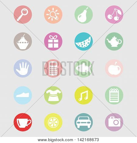 Vector set of icons for store or market flat icons images in rounds