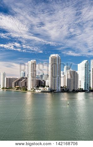 Miami, Seascape With Skyscrapers In Bayside