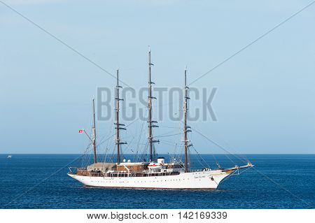 Cozumel Mexico - March 13 2016 big luxury Tall ship Sea Cloud sailing next to Cozumel Mexico at sunny day