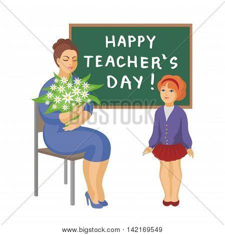the schoolgirl has presented to the teacher flowers, vector