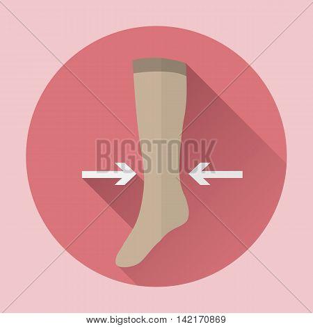 Medical compression hosiery female vector web icon.