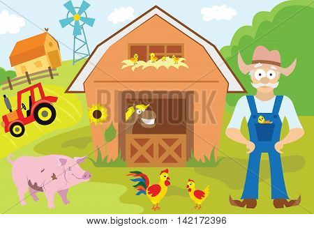Big set of cartoon characters and elements of the farm. Buildings, farmer, livestock, animals, cars, trees. On an isolated white background. Vector illustration.