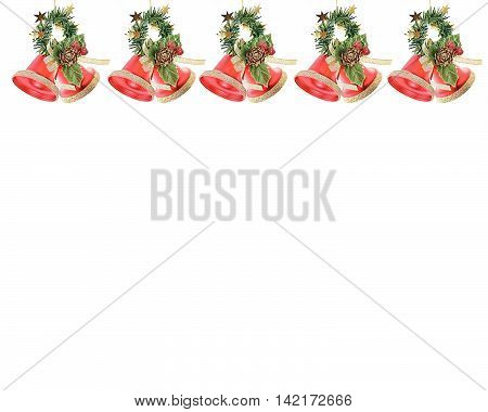 Christmas Bells in a row  on white