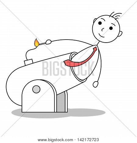 Cartoon business man lighting a cannon. Line drawing