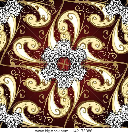 Abstract beautiful background with golden and white floral elements on brown background.
